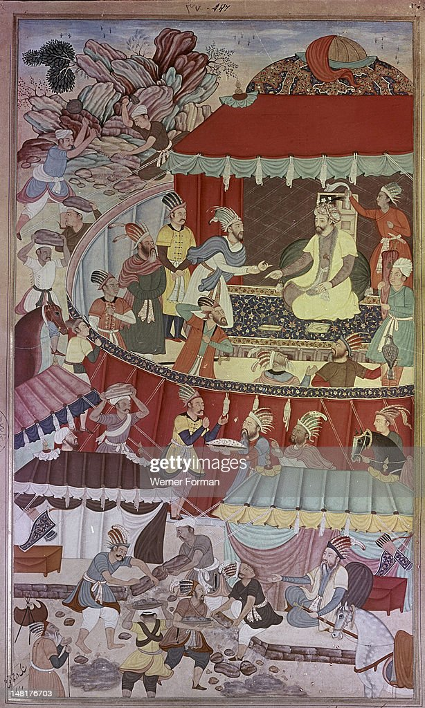Detail from the 14th century Persian story 'The History of the Mongols' Illustration of the 'Chronicle of Genghiz Khan in the year 1219 1227 Genghiz...