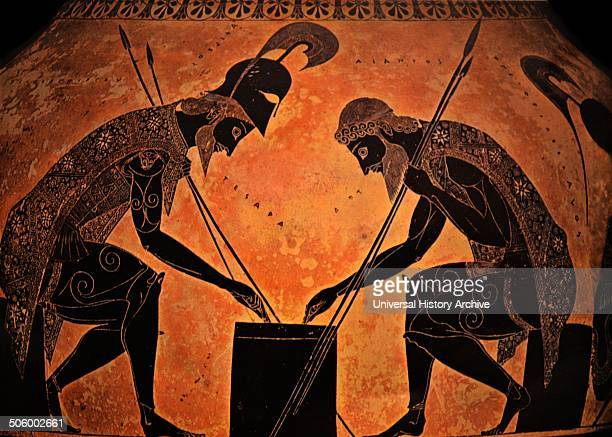 Detail from the Exekias's Vatican Amphora Achilles on the left is depicted playing a game with Ajax Dated 530 BC