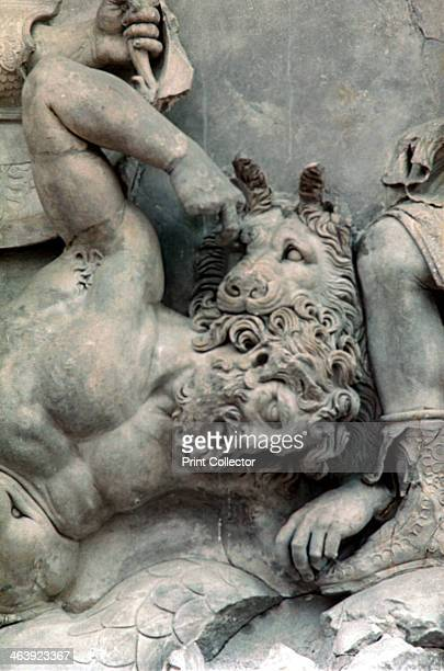 Detail from the Great Frieze of the Pergamon Altar 180159 BC The 113 metre long Ancient Greek frieze depicts the 'gigantomachy' the struggle between...