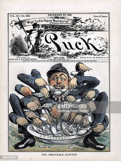 Detail from 'The Insatiable Glutton' Puck magazine cartoon December 1882 By the 1880s support for the veteran was diminishing as seen in this...