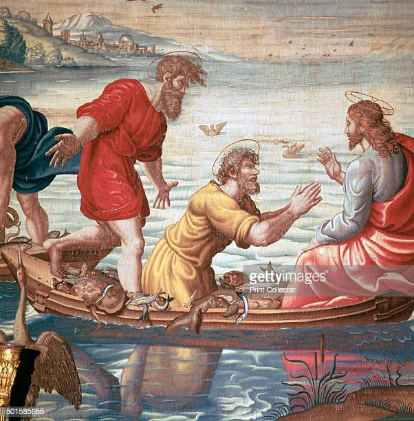 Detail from the Mortlakes Tapestries showing the miraculous draft of fishes The tapestries were made by weavers in Brussels and was brought by King...