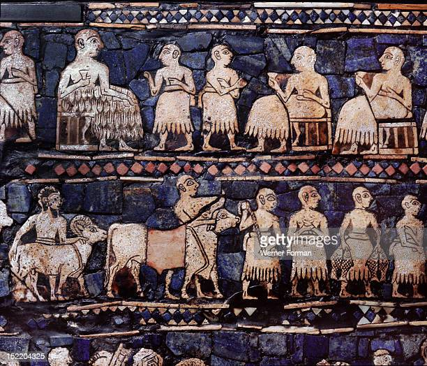 A detail from the so called Standard of Ur side B The figures are composed of shell with engraved details in a backround of lapis lazuli This panel...