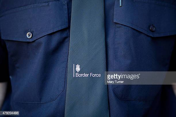 A detail from the uniform of a Border Force officer on the new Border Force cutter HMC Protector on March 16 2014 in London England The cutter...