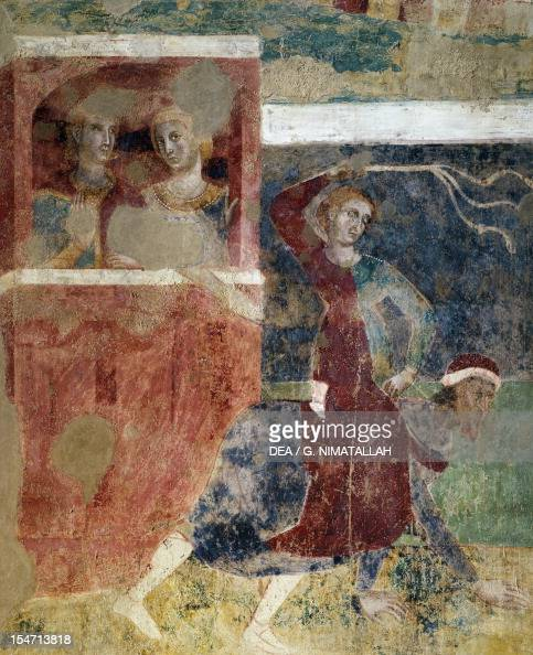 Detail from The ups and downs of a young man's initiations into the mysteries of love 13051311 by Memmo di Filippuccio fresco Chambers of the podesta...