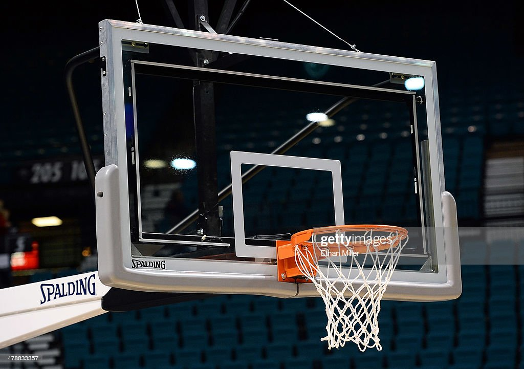 A detail image of a basketball backboard before a semifinal game of the Pac12 Basketball Tournament between the Colorado Buffaloes and the Arizona...