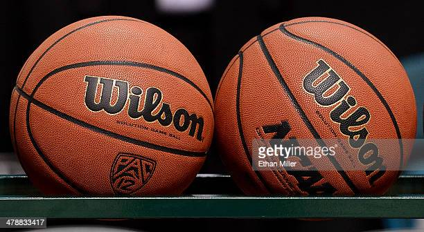 A detail image of basketballs before a semifinal game of the Pac12 Basketball Tournament between the Colorado Buffaloes and the Arizona Wildcats at...
