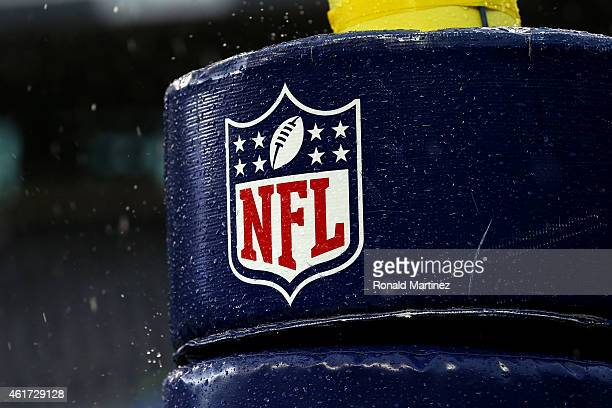 Detail image of the NFL logo on a goal post before the 2015 NFC Championship game between the Seattle Seahawks and the Green Bay Packers at...