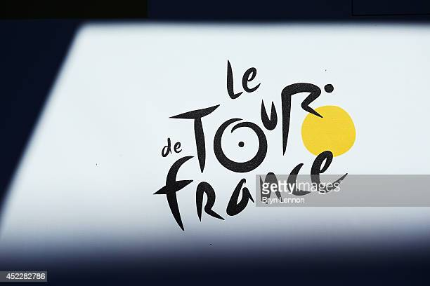 A detail image of the Tour de France logo on stage twelve of the 2014 Tour de France a 186km stage between BourgenBresse and SaintEtienne on July 17...