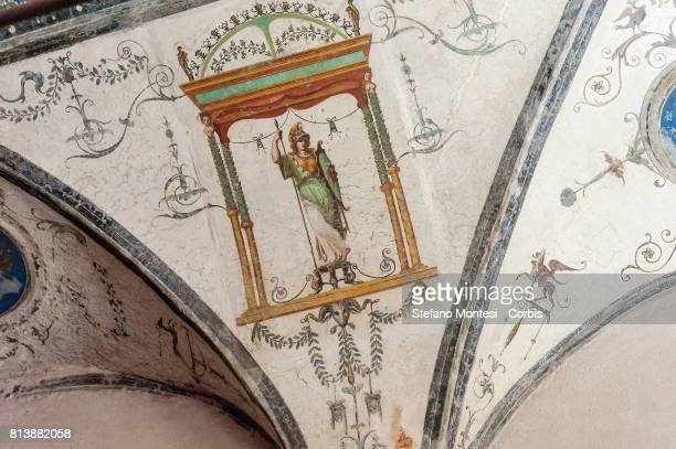 A detail in the Mattei Loggia a Renaissance building on the Palatino Hill in the Ancient Roman Forum on July 13 2017 in Rome Italy Initiative secret...