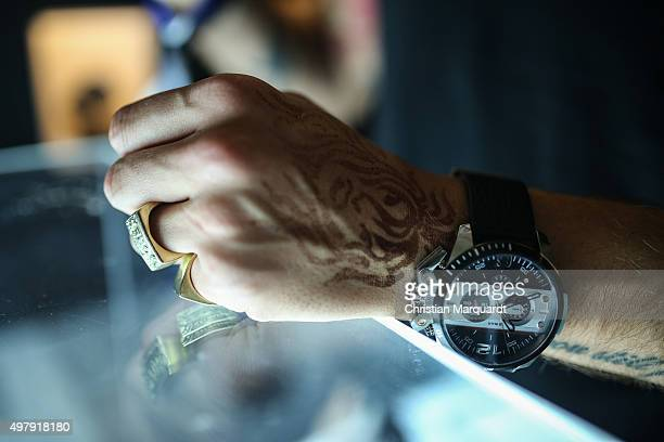 Detail Jacob Haupt Dandy Diary attends the Diesel watches store event on November 19 2015 in Berlin Germany