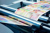 Detail od printing machine in printing plant