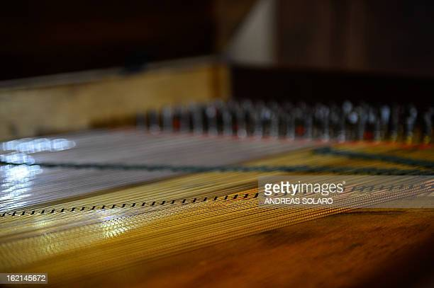 Detail of a 1813 London Square piano made by Italian Muzio Clementi known as the 'Father of the Piano' taken at the museum of the 'Magnifica Comunità...
