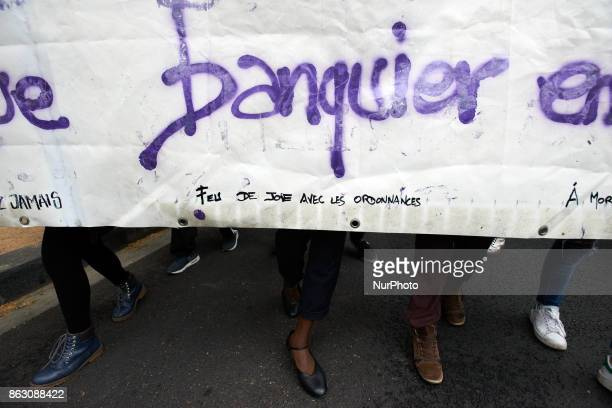 A detail of a banner reading 'Banker bonfinre with the ordonnances' during a protest in Toulouse France on October 19th 2017 Nearly 3000 protesters...