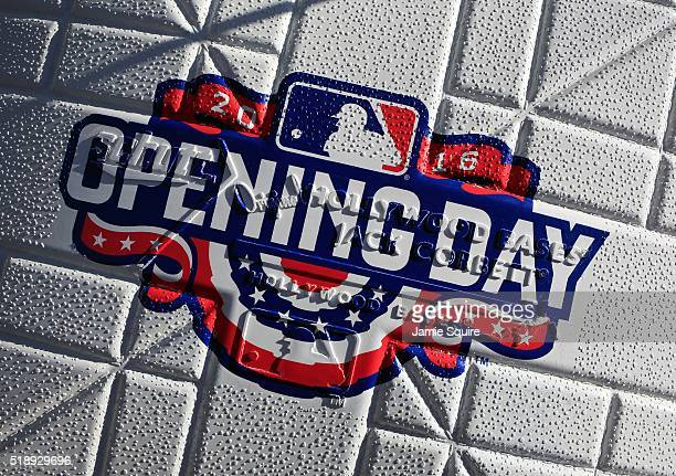 A detail of a base prior to the opening day game between the Kansas City Royals and the New York Mets at Kauffman Stadium on April 3 2016 in Kansas...