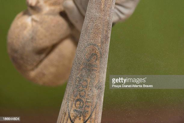 Detail of a baseball bat covered in pine tar and rosin powder during the game against the Philadelphia Phillies at Turner Field on September 28 2013...