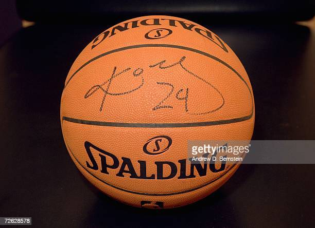 Detail of a basketball autographed by Kobe Bryant of the Los Angeles Lakers before the NBA game against the Seattle Supersonics on November 3 2006 at...