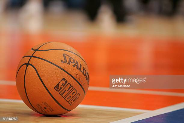 Detail of a basketball during the game between the New York Knicks and the Atlanta Hawks on November 23 2004 at Madison Square Garden in New York New...