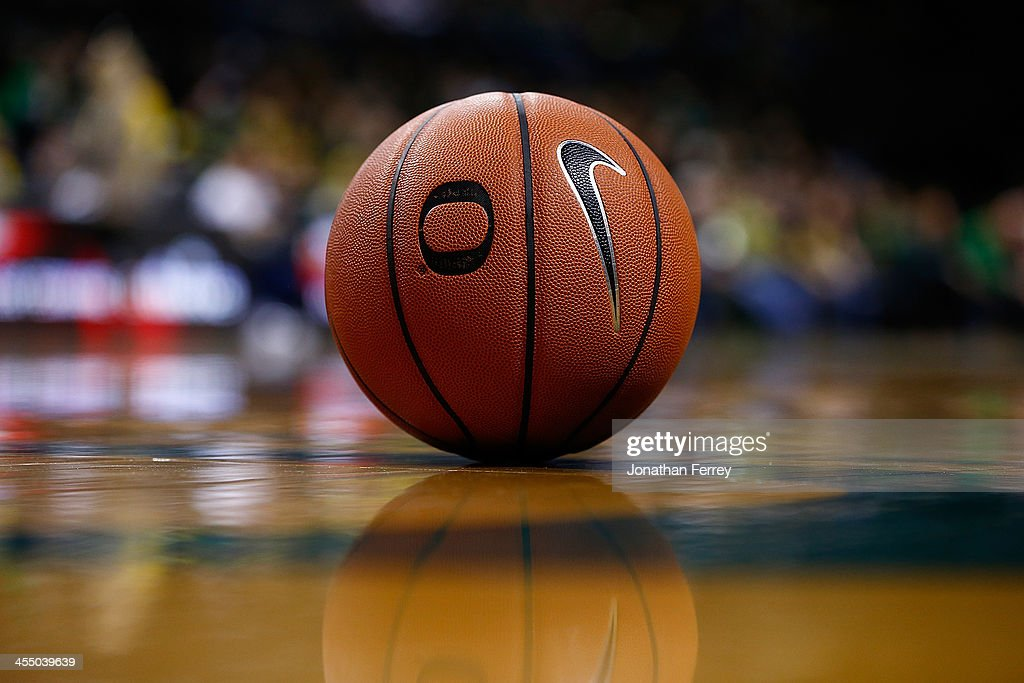 A detail of a basketball during the game between the Oregon Ducks and the Pacific Tigers on November 29 2013 at Matthew Knight Arena in Eugene Oregon