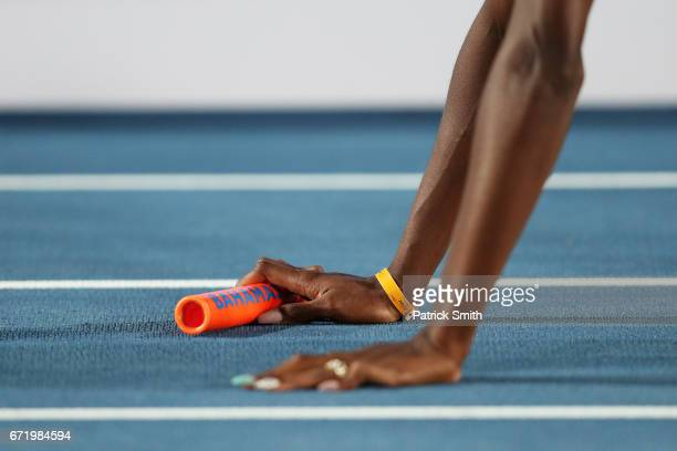 A detail of a baton during the IAAF/BTC World Relays Bahamas 2017 at Thomas Robinson Stadium on April 22 2017 in Nassau Bahamas