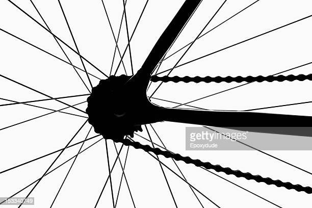 Detail of a bicycle wheel, back lit, studio shot
