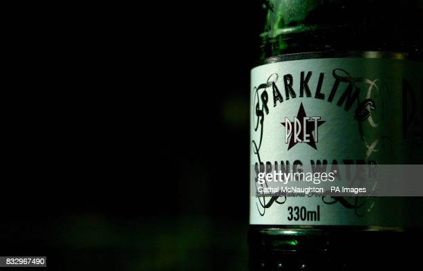 Detail of a bottle of mineral water from sandwich shop Pret A Manger