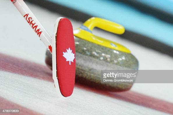 A detail of a broom is pictured during the Wheelchair Curling Round Robin Session 11 during day six of Sochi 2014 Winter Paralympic Games at Ice Cube...