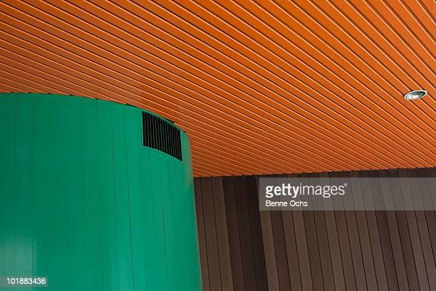 Detail of a colorful wood paneling interior