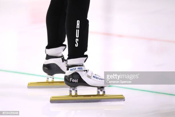 Detail of a competitors skates during the Australian World Cup Short Track Trials on July 27 2017 at Canterbury Olympic Ice Rink in Sydney Australia