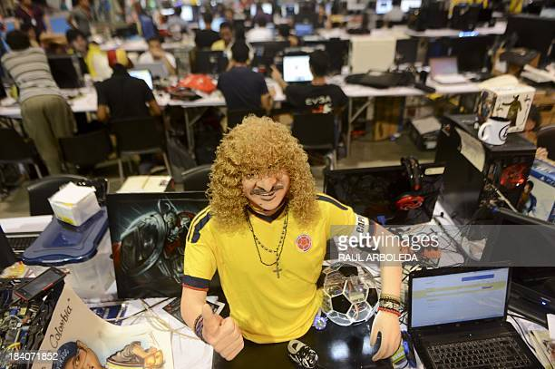 Detail of a computer with the image of Colombian former footballer Carlos Valderrama during the sixth edition of Colombia's Campus Party on October...
