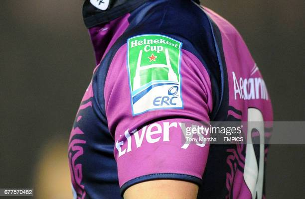Detail of a Connacht Rugby shirt and Heineken Cup signage on the sleeve
