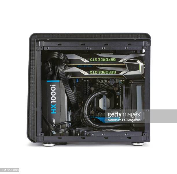 Detail of a custombuilt gaming PC with a BitFenix Phenom M case Nvidia GeForce GTX 1080 graphics cards and Corsair H80i GT cooling system taken on...