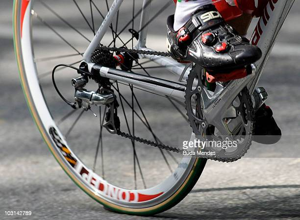 Detail of a cyclist's shoe and wheel during the first stage of the Tour do Rio 2010 from Rio de Janeiro to Angra dos Reis on July 28 2010 in Rio de...