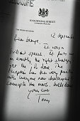 Detail of a declassified handwritten letter sent by the then British Prime Minister Tony Blair to George Bush former President of the United States...