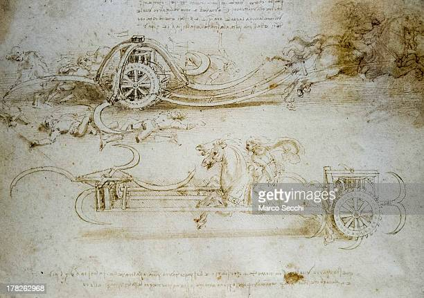 Detail of a drawing with war equipment on display in the 'Leonardo da Vinci L'Uomo Universale' exhibition during the press preview at Gallerie...
