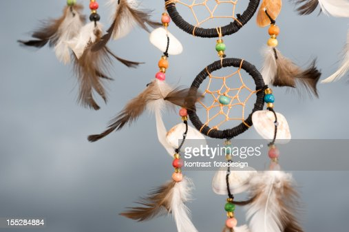 Detail Of A Dreamcatcher Against Dramatic Grey Sky Stock