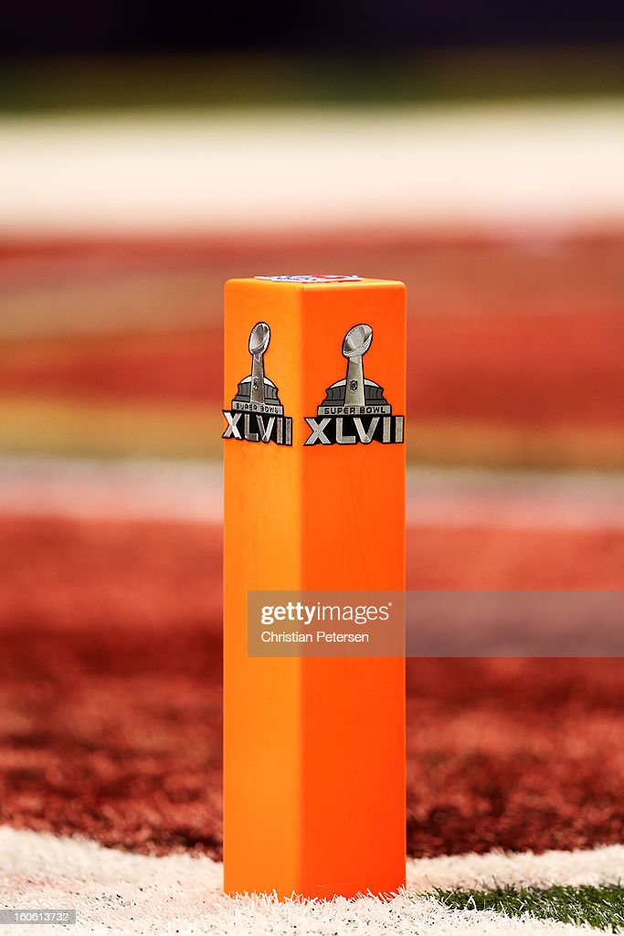 A detail of a endzone pylon with the Super Bowl logo is seen on the field during Super Bowl XLVII between the San Francisco 49ers and the Baltimore Ravens at the Mercedes-Benz Superdome on February 3, 2013 in New Orleans, Louisiana.