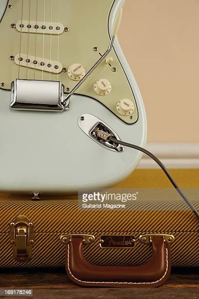 Detail of a Fender American Vintage '59 Stratocaster electric guitar taken on October 15 2012