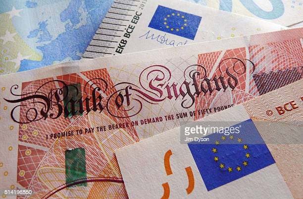 A detail of a fifty Pound bank note and a fifty Euro note on March 7 2016 in London England
