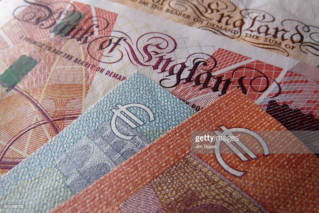 A detail of a fifty Pound bank note and a five and ten Euro note on March 7 2016 in London England