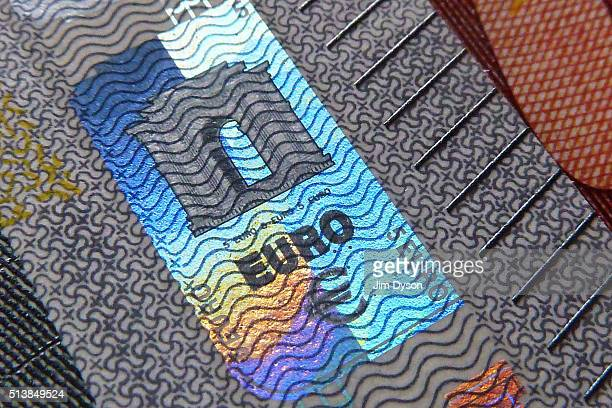 A detail of a five Euro bank note with hologram design on March 4 2016 in London England
