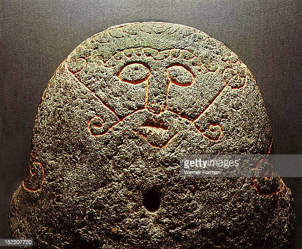 Detail of a forge stone incised with the face of the god Loki with lips sewn together Denmark Viking Late Viking period Found on a beach Horsens Fjord
