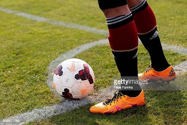 Detail of a german player to take the corner during the UEFA Under17 match between U17 Netherlands v U17 Germany on February 5 2016 in Vila Real de...