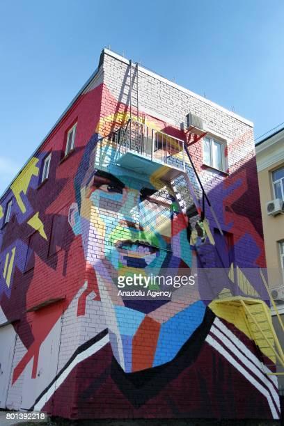 Detail of a graffiti featuring Portugal's player Cristiano Ronaldo in central Kazan Russia on June 22 2017