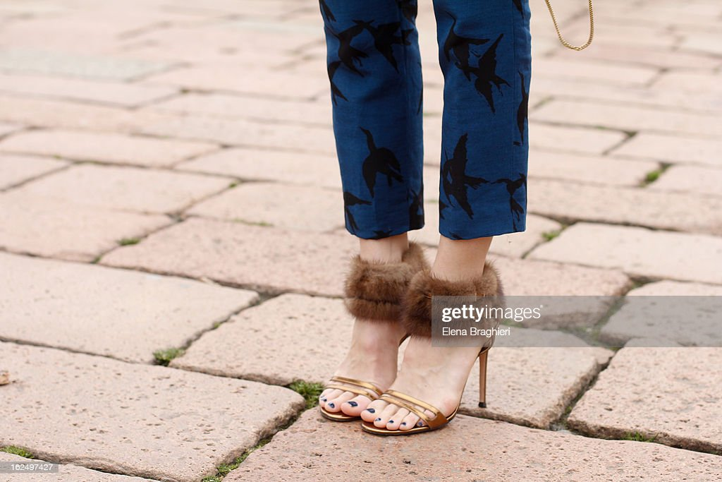 A detail of a guest is seen as she attends the Milan Fashion Week Womenswear Fall/Winter 2013/14 on February 23, 2013 in Milan, Italy.