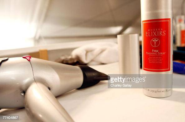 A detail of a hair dryer and finishing spray backstage at the Monarchy Collection Spring 2008 fashion show during MercedesBenz Fashion Week held at...