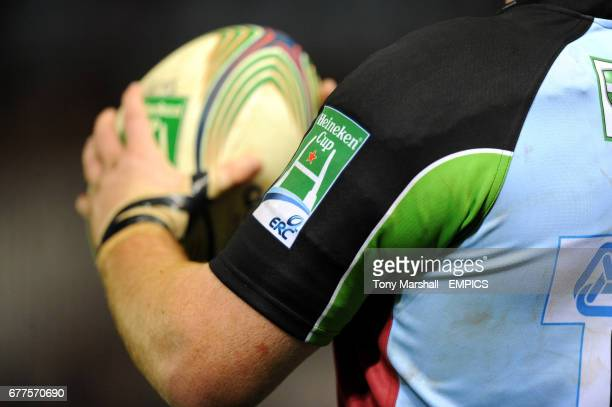 Detail of a Harlequins shirt and Heineken Cup signage on the sleeve