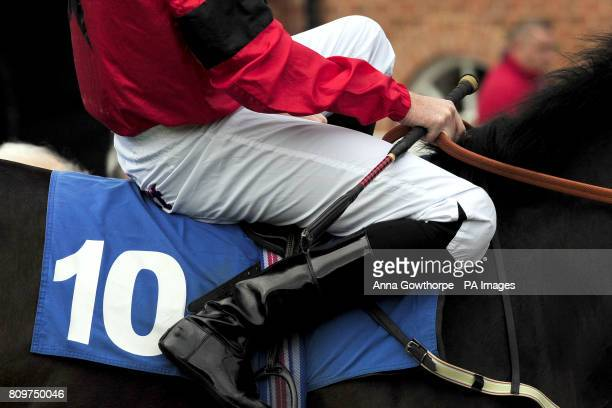 Detail of a jockey holding his whip whilst seated on his ride