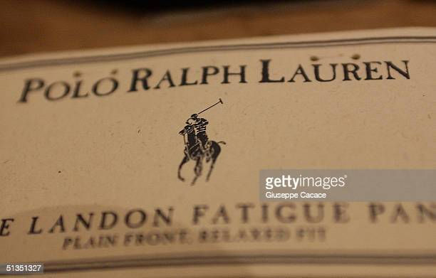 A detail of a label is pictured at the opening of the new Milan Ralph Lauren store at Via Montenapoleone on September 23 2004 in Milan Italy