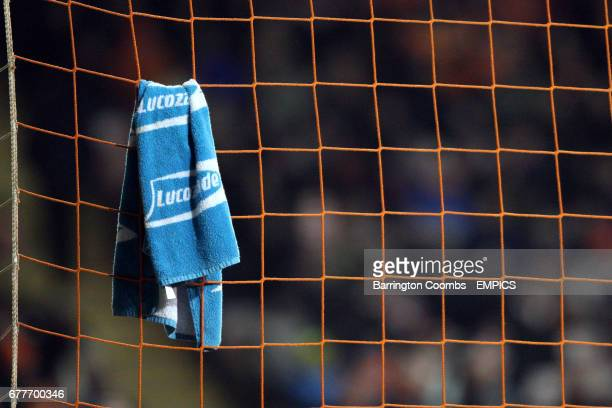 Detail of a Lucozade towel hanging on the goal net at Bloomfield Road