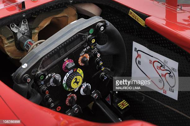 Detail of a map of Interlagos racetrack inside the cockpit of Spanish Ferrari F1 driver Fernando Alonso during the second free practice at Interlagos...